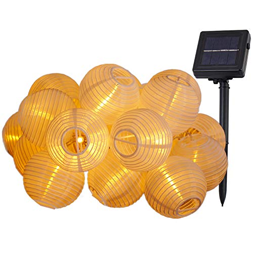 MUHOO Solar Lampions Lichterkette Außen Warmweiß 6.5 Meter 30 LED 2 Modi Außenbeleuchtung mit Koppelbarem Transparenten Kabel für Garten, Balkon, Fest Deko