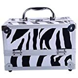 AYNEFY Makeup Train Case, 9'x6'x6' Multi-Function Aluminum Cosmetic Handbag Jewelry Storage Box Organizer Make up Carrier with Mirror Professional Hair Stylist Travel Case White Zebra