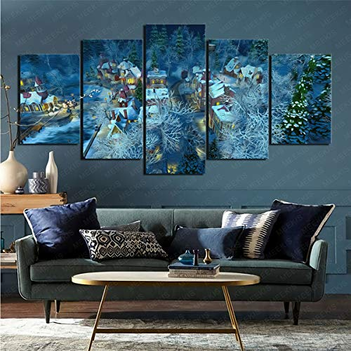 mmkow Lienzo de 5 Piezas, Obra de Arte Hecha por el Hombre para el hogar, Obra de Arte 80x150cm (Marco)