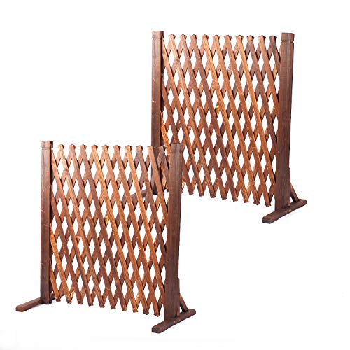 LeHom 2PCS Expandable Garden Fence Wooden Pet Gate 27.5 x 63 inch Retractable Expanding Fences Barrier Section Partition for Home Indoor Outdoor