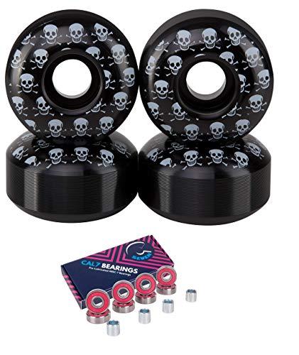 Cal 7 Skateboard Wheels and Bearings | 52mm 99A Wheel Set Combo (Pink)