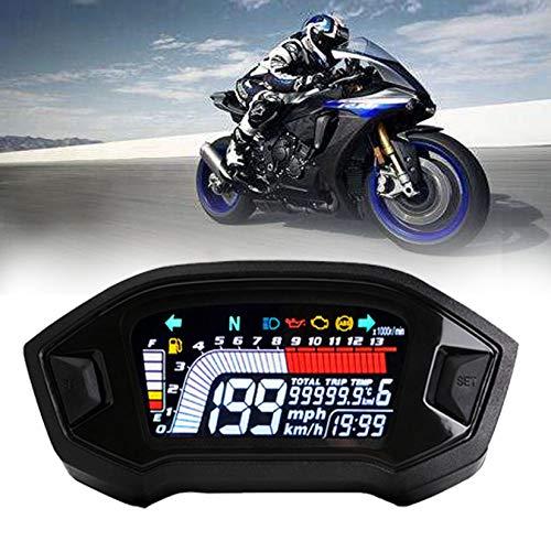 BLUERICE Real Color Digital Motorcycle Speedometer 199 Kph Mph Universal Speedometer Odometer Motorcycle Gauge Water Temperature Gauge with Bracket