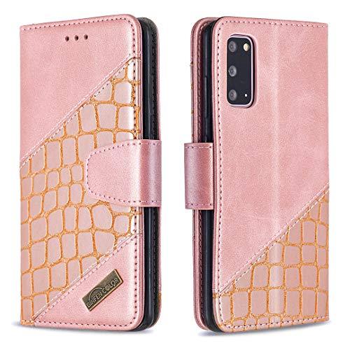 Lomogo Galaxy S20 Hülle Leder, Schutzhülle Brieftasche mit Kartenfach Klappbar Magnetisch Stoßfest Handyhülle Case für Samsung Galaxy S20 - LOBFE200231 Rosa Gold