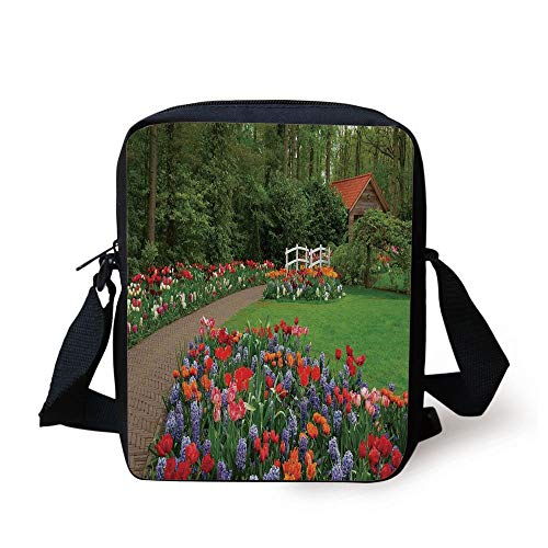 Country Home Decor,A Spring Garden with Forest Hut Small Bridge Plants Flowerbeds and Walkway,Green Purple Print Kids Crossbody Messenger Bag Purse