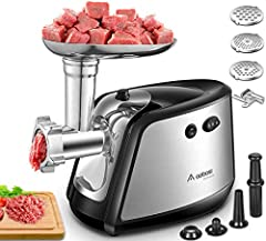 """Upgraded""Aobosi Electric Meat Grinder 3-IN-1 Multi Meat Grinder with 3 Stainless Steel Grinding Plates, Kubbe & Sausage Filling Pipes,1200W MAX High-performance Motor for Fast and Fine Grinding*"