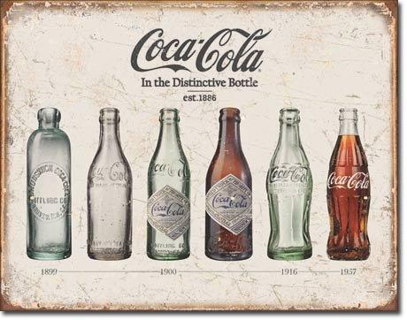 The Finest Website Inc. Cartel de Lata, diseño Vintage de Coca Cola Coke Bottle Evolution 40,64 cm x 31,75 cm (D1839)