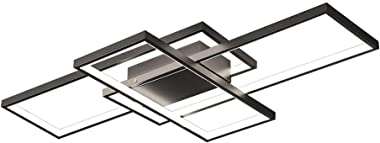 OKES Modern Ceiling Light, 78W LED Ceiling Lamp Black Square Acrylic Flush Mount Ceiling Lights Fixture for Bedroom Living Ro