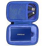 co2CREA Duro Viajar Caja Estuche Funda para Samsung T7 Touch Portable SSD 500GB 1TB 2TB(Caja Solo) (para 1 SSD, Negro/Azul)