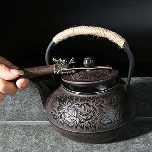 WEIQ Olla de hierro fundido olla de hierro fundido tetera de hierro antiguo olla de hierro 900 ml peonía flor hierro fundido olla tetera té chino   teteras 