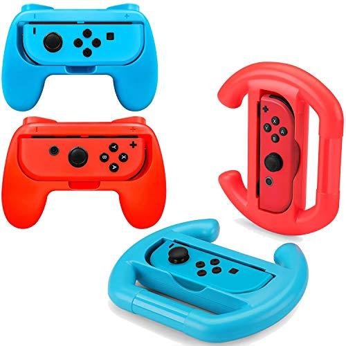 OLDZHU Volantes y Grip Switch Joy-con Compatible Con Nintendo Switch, Switch Joy-con Racing Wheel Volante para Mario kart 8, Mandos Grip Joy-con para entretenimiento en casa(4 Piezas,rojo y azul)