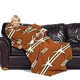 Texas Longhorns NCAA Adult Stripes' Comfy Throw Blanket with Sleeves'
