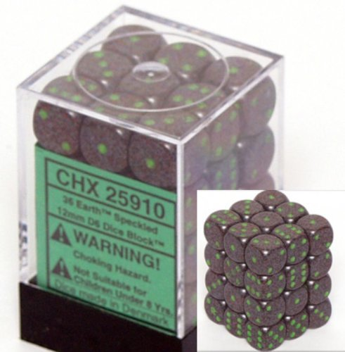 Chessex Dice d6 Sets: Earth Speckled - 12mm Six Sided Die (36) Block of Dice