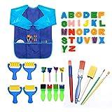 pintura de dedos para niños,Incluye cepillo de esponja, cepillo de flores, juego de cepillos, delant...
