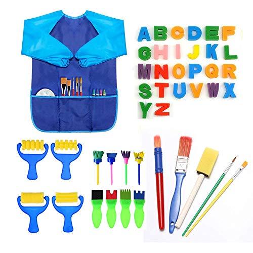 JUSONEY Kit di Pittura per Bambini, 44 Pezzi Early Learning Kids Set di Pittura tra Cui spugnetta, Pennello per Fiori, Set di pennelli, Grembiule Impermeabile a Manica Lunga e 26 Lettere