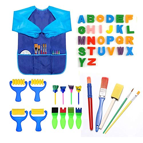 Malschwämme für Kinder, 44-teiliges Set mit Schwammpinsel, Blumenmusterpinsel, Pinsel-Set, langärmlig, wasserdichte Schürze und 26 Buchstaben