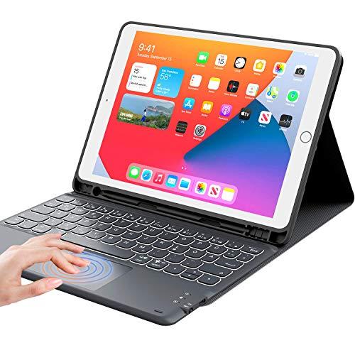 Earto Beleuchtete Tastatur Hülle mit Touchpad für iPad 8. Gen 2020/ iPad 7. Gen (2019) 10,2 Zoll, iPad Air 3. Gen, iPad Pro 10,5 2017, QWERTZ iPad 10.2 Hülle mit Tastatur mit Trackpad, Schwarz