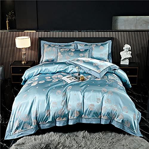 Exlcellexngce Juego De Funda De EdredóN 3D,Luxury 4pcs Jacquard Juego De Cama Conjuntos De Ropa De Cama SatéN 1 Cubierta De EdredóN + 2 Pillow +1 Hoja De Cama-Metro_Cama De 2.0m (4pcs)