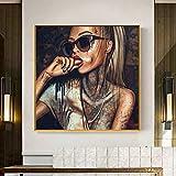 Pop Art Cool Girl Tattoo Bilder abstrakte moderne afrikanische Leinwand Malerei neue Graffiti Straße Frauen Porträt Wandkunst für Zimmer-in Malerei & Kalligraphie von Haus & Garten 70x70cm kein Rahmen