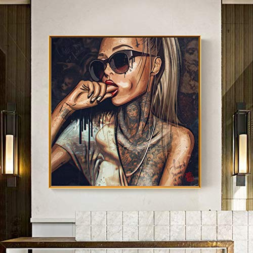 Pop Art Cool Girl Tattoo Bilder abstrakte moderne afrikanische Leinwand Malerei neue Graffiti Straße Frauen Porträt Wandkunst für Zimmer-in Malerei & Kalligraphie 70x70cm kein Rahmen