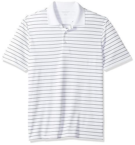 Amazon Essentials Herren Poloshirt Regular-fit Quick-dry Stripe Golf Polo Shirt, Weiß (Weiß), M