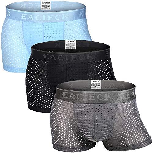 FZmix Herren Boxershort Unterhose, 3er Pack Seamless Unterhosen Boxershorts Herren, Ice Seide Mesh Unterwäsche Retroshorts für Herren