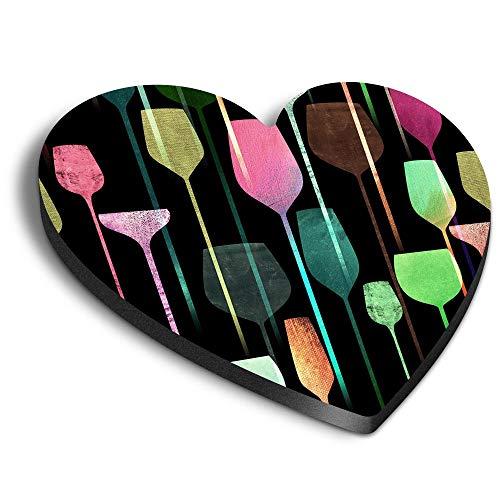 Destination Vinyl ltd Imanes de corazón MDF – Abstracto copas de vino Bar Pub para oficina, gabinete y pizarra, pegatinas magnéticas 24551