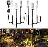 Gartenbeleuchtung ECOWHO 6er Gartenleuchte mit Erdspieß IP65 Wasserdicht Gartenstrahler, LED Wegbeleuchtung mit Kabel, Gartenlampe mit Strom, Luftblase warmweiß Wegleuchte für Outdoor Rasen Hof.