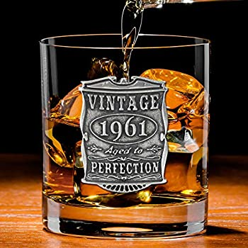 English Pewter Company Vintage Years 1961 60th Birthday or Anniversary Old Fashioned Whisky Rocks Glass Tumbler - Unique Gift Idea For Men [VIN002]
