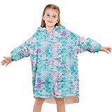 Fleece Wearable Blanket for Kids Girl 4-14 Years Cute Mermaid Soft Cozy Oversized Hoodies Winter Warm Blanketry Sweatshirt for Birthday