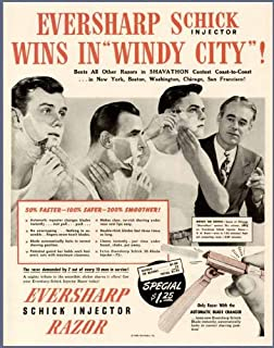 Rare 1946 AD for Schick Injector Razors by EVERSHARP Original Paper Ephemera Authentic Vintage Print Magazine Ad/Article