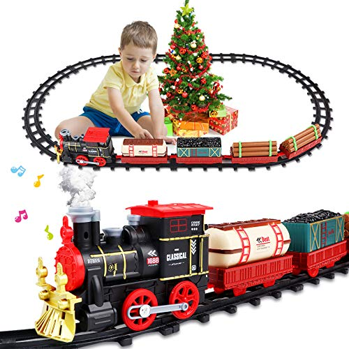 AHIROT Christmas Train Set Electric Train Toy for Boys Girls - Smokes, Lights &Sound, Railway Kits, Steam Locomotive Engine, Cargo Cars & Tracks for Kids