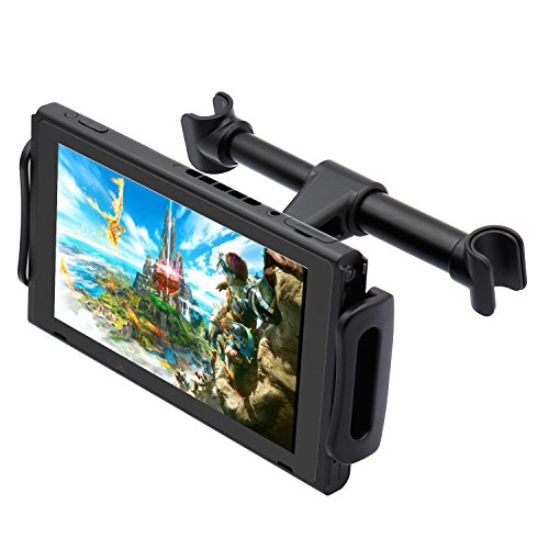 Car Headrest Mount for Nintendo Switch, Adjustable Car Holder for Nintendo Switch/iPhone/iPad and Other Tablets (4'-11')