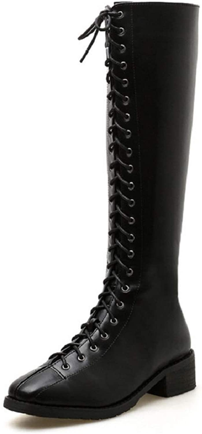Women Ladies Calf Biker Boots  2New lace-up Low Heel Thick Heel Boots Plus Velvet Punk Leather Boots Autumn Winter Flat Grip Sole Army Boots Size