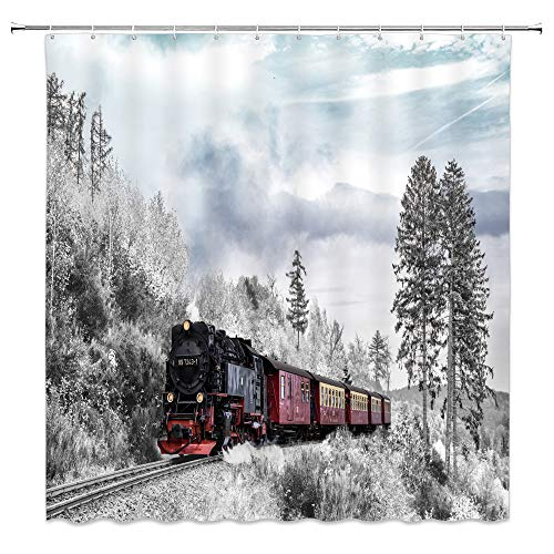 Train Shower Curtain Decor Vintage Red Black Locomotive Winter Snow Woods Tree Creative Landscape Decorative Bathroom Curtain Polyester Fabric Machine Washable with Hooks 70 x 70 Inches