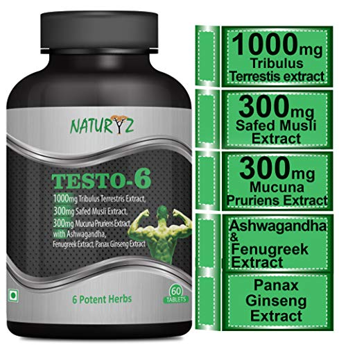 Naturyz Testo-6 Supplement For Men 2100mg per serving with 1000mg Tribulus Terrestris Extract, Safed Musli, Kaunj, Ashwagandha & Fenugreek Extract, Panax Ginseng -60Tabs