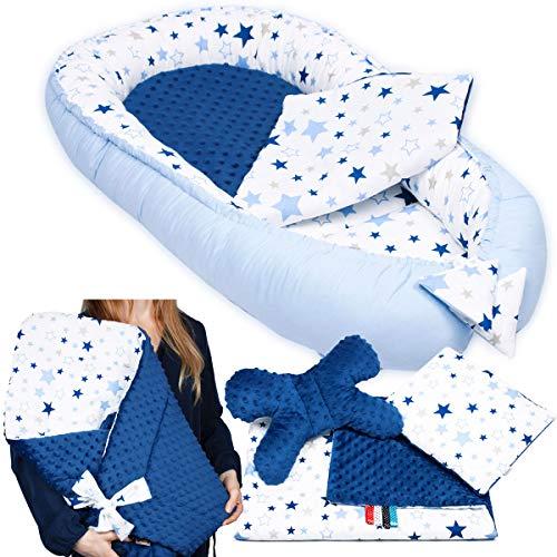 6-tlg PALULLI Baby Ausstattung-Set - Babynest mit Einschlagdecke, Baby-Matratze, Kuscheldecke, Flachkissen, Nackenkissen, kuschelweich für Babys (MILKYWAY)