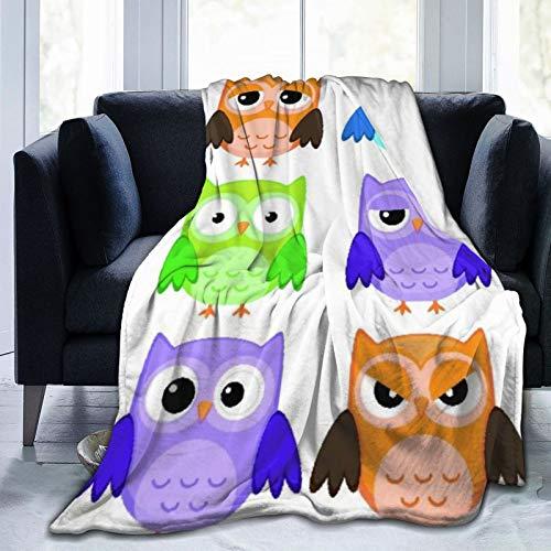 """NOLOVVHA Decke Werfen,Kinderzimmer,Bunte Sammlung freundliche Eulen-Vögel mit verschiedenen Gesichtsausdrücken Comic Cute,Mikrofaser Ganzjahresbett Couch,40"""" x 50"""""""