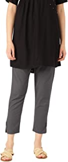 Rapsodia Women Comfort Straight Fit Solid Cotton Trouser (Grey)