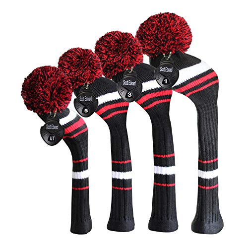 Scott Edward Knit Golf Headcovers for Wood 4 PCS Packed,Fit Driver Wood, Fairway Wood and Hybrid/UT, Long Neck,Big Pom Pom, for Men/Women (Black White Red Stripes)