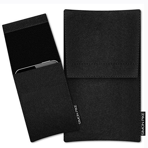 SIMON PIKE Hülle Tasche kompatibel mit Motorola Razr (2019)   Filztasche Sidney in 1 schwarz aus Filz (echtem Wollfilz) Handyhülle