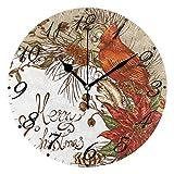 Jacque Dusk Reloj de Pared Moderno,Feliz Navidad muñeco de Nieve Copo de Nieve pájaro Cardenal,Grandes Decorativos Silencioso Reloj de Cuarzo de Redondo No-Ticking para Sala de Estar,25cm diámetro