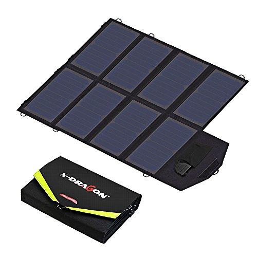 X-DRAGON Chargeur Solaire 40W (5V USB + 18V DC) Ordinateur Portable SunPower Chargeur pour Ordinateur Portable, Notebooks, Tablettes,Smartphones Android