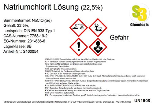 S3 Chemicals Natriumchlorit Lösung (22,5%) Gebindegröße 100ml