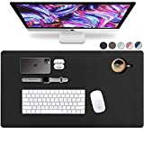 Leather Desk Pad 36' x 20', Vine Creations Office Desk Mat Waterproof Black, Smooth Mouse Pad and Writing Surface, Top of Desks Protector, Large Dual-Sided PU Leather Blotter Accessories Office Decor