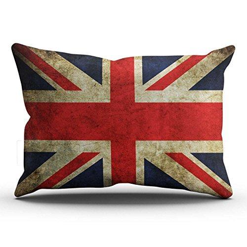 ymot101Romantico Classico retrò Regno Unito Regno Unito Britannico Bandiera Union Jack Lombare Cuscino Rettangolare con Cerniera Stampato 40x 60cm tiro Federa Cuscino