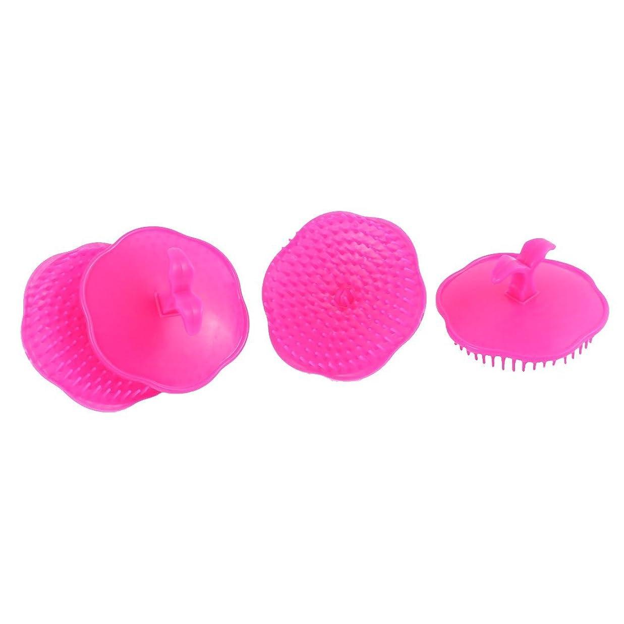 読者テンション粒子uxcell シャンプーブラシ 洗髪櫛 マッサージャー プラスチック フクシア 4個