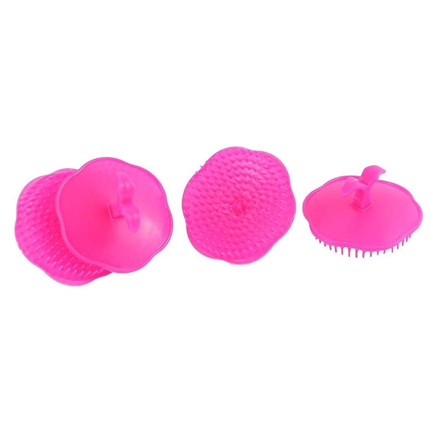 羽ハーフドキドキuxcell シャンプーブラシ 洗髪櫛 マッサージャー プラスチック フクシア 4個