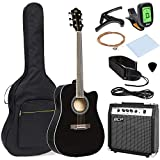 Best Choice Products 41in Full Size Acoustic Electric Cutaway Guitar Set w/ 10-Watt Amplifier, Capo, E-Tuner, Gig Bag, Strap, Picks (Black)