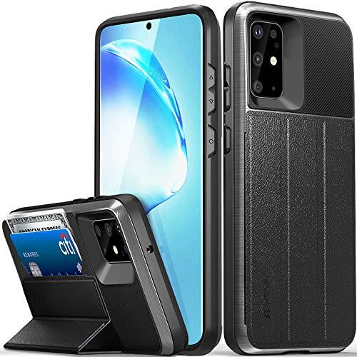 VENA vCommute Funda Cartera Compatible con Samsung Galaxy S20 Plus / S20+ (6.7'-inch), (Military Grade, Ranuras para Tarjetas) Carcasa de Cuero Case con Función de Soporte - Gris