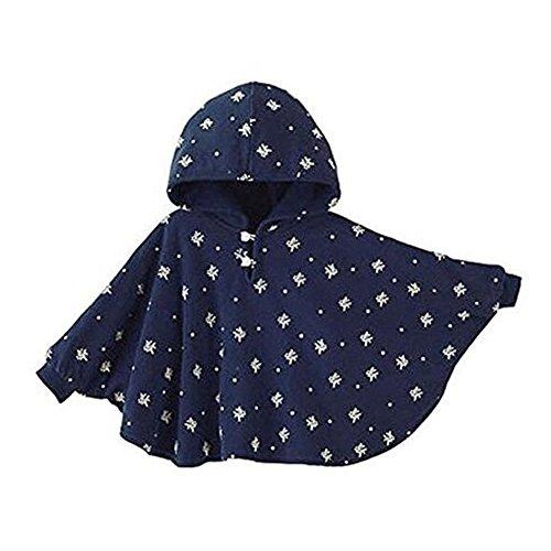 Yying Abrigo Infantil Poncho Bebé - Desgaste Doble Cara Niños Pequeños Rompevientos Capote Encapuchado Chal Cálido Manto Niños Azul Rosado 75 95